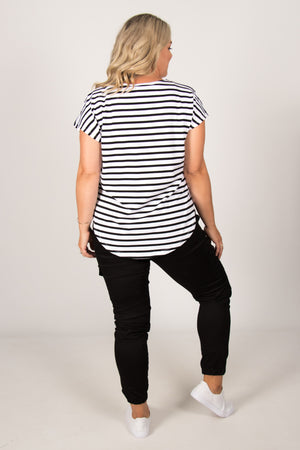 Tulip Top in White/Black Stripe