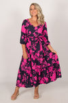Amity Dress in Navy/Hot Pink
