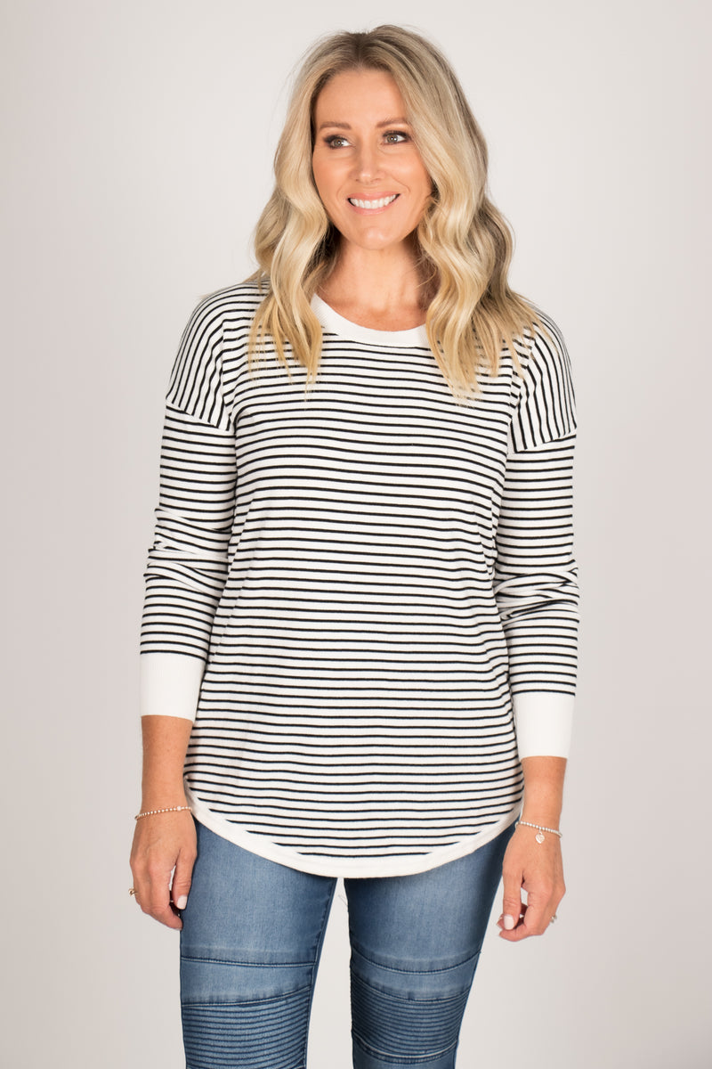 Sophie Knit Jumper in White/Black Stripe