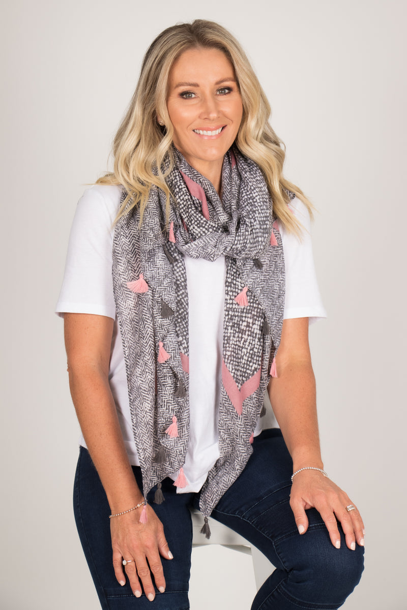 Putland Scarf in Pink/Grey