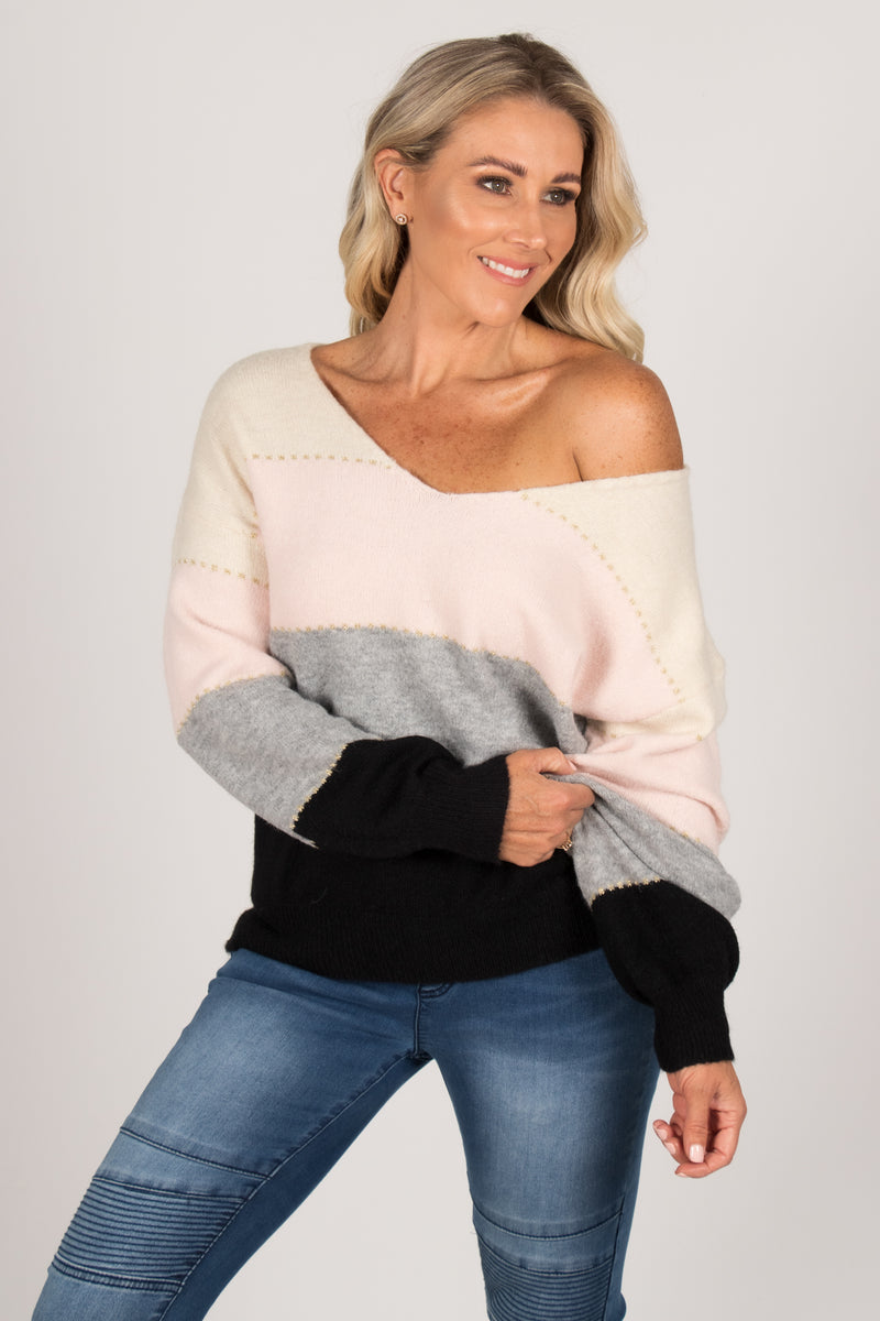 Beccie Knit Jumper in Cream/Pink