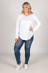 Megan Long Sleeve Top in White