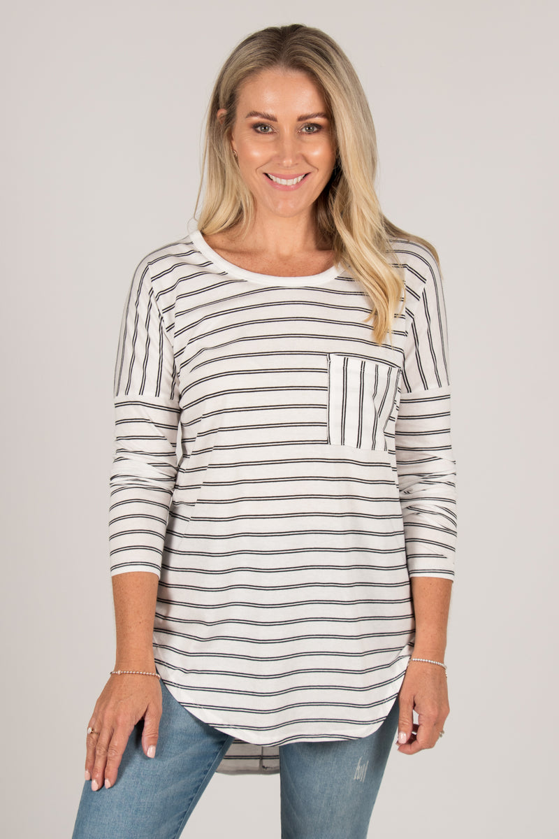 Phoebe Top in White/Black Stripe