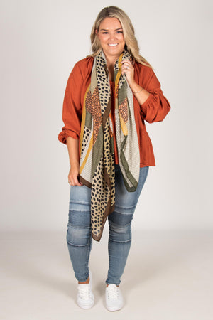 Autumn Wonders Scarf in Khaki