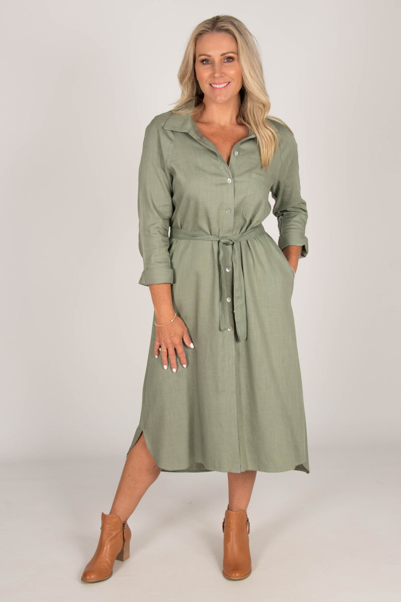 The Teacher Shirt Dress in Sage