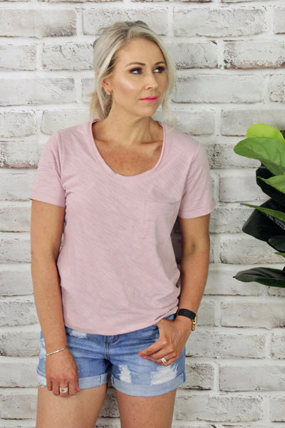 Civic Capped Tee in Blush