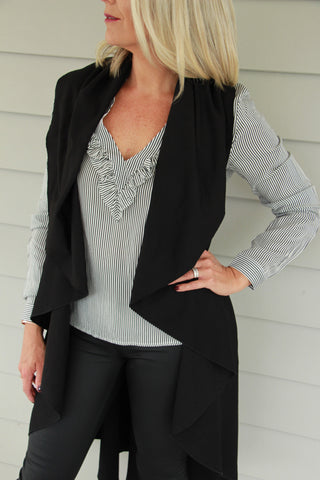 Break of Dawn Blouse Black Stripe