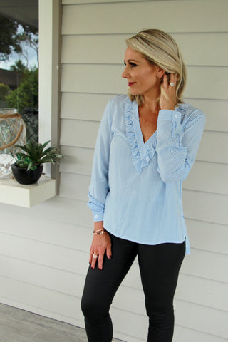 Break of Dawn Blouse Blue Stripe