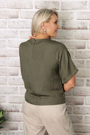 Dynasty Top in Dark Khaki