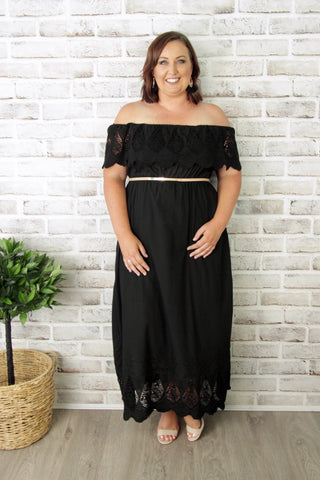 Louisa OTS Dress in Black