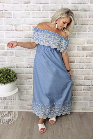 Louisa OTS Dress in Chambray Blue