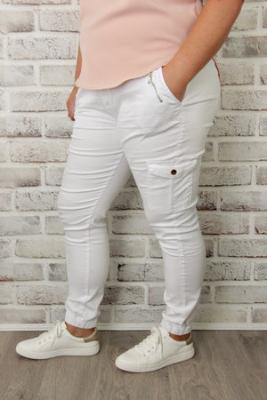 Jayda Cargo Joggers in White