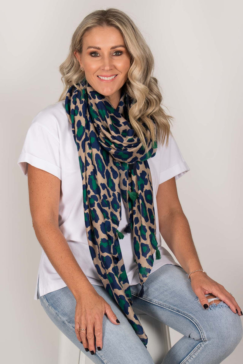 Swift Leopard Scarf in Emerald/Navy