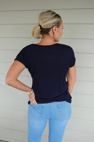 Bella Basic Tee in Navy