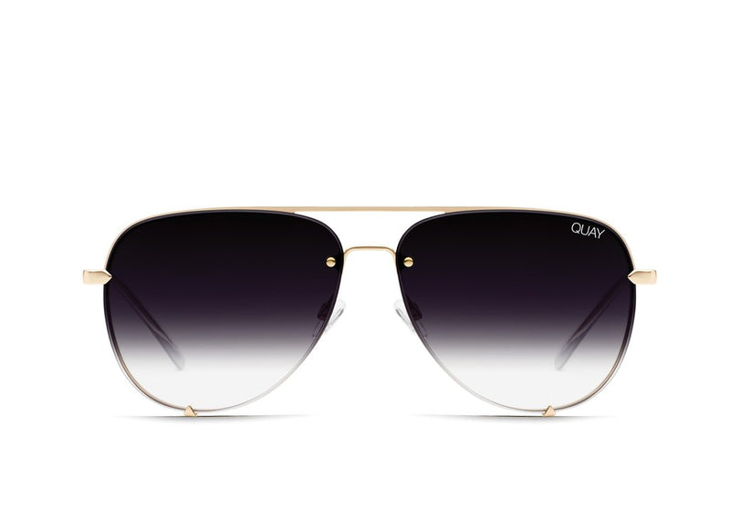 Quay Eyewear - High Key Mini Rimless in Gold/Fade