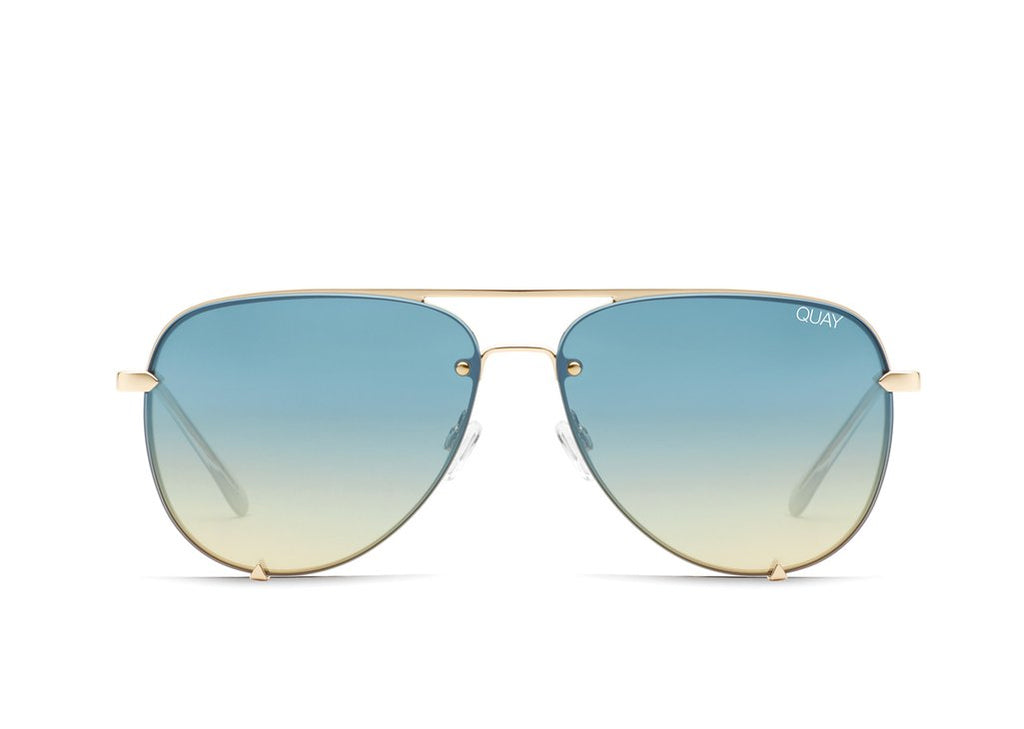 Quay Eyewear - High Key Mini Rimless - Gold/Blue Turquoise