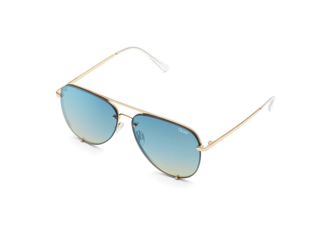 Quay Eyewear - High Key Mini Rimless in Gold/Blue Turquoise