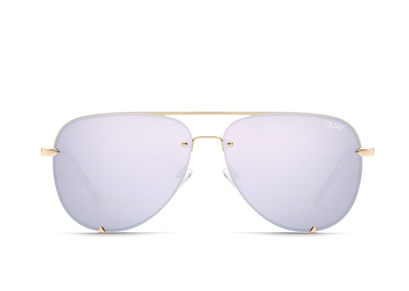 Quay Eyewear - High Key Mini Rimless in Gold/Lilac Mirror