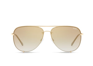 Quay Eyewear - High Key Mini Rimless in Gold/Brown Flash