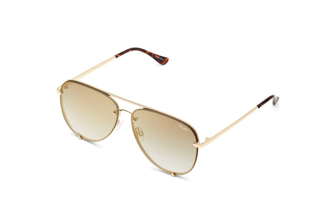 Quay Eyewear - High Key Mini Rimless - Gold/Brown Flash