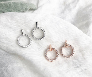 Open Circle Stud Earrings in Rose Gold