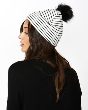 Harper Beanie in White/Black