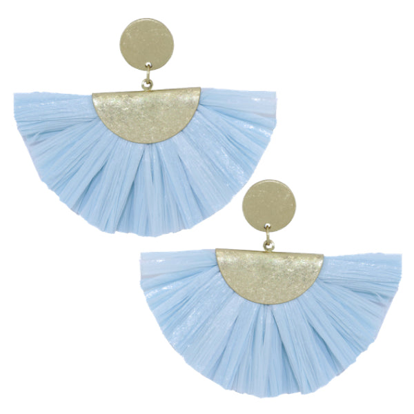 Fan Fringe Earrings in Blue