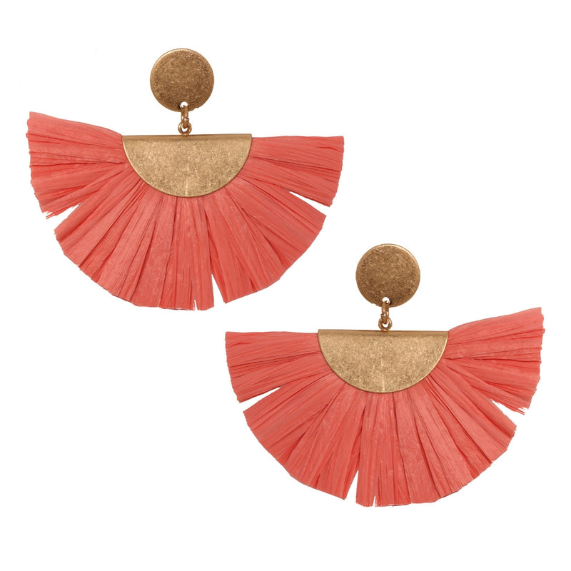 Fan Fringe Earrings in Pink