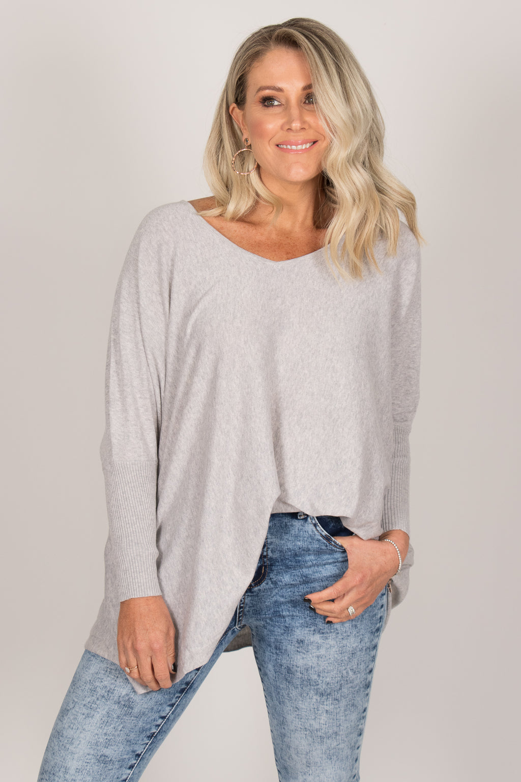Delia Knit Top in Grey