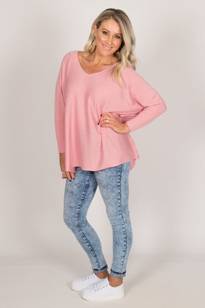 Delia Knit Top in Pink