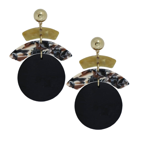 Disc Drop Earring in Browns