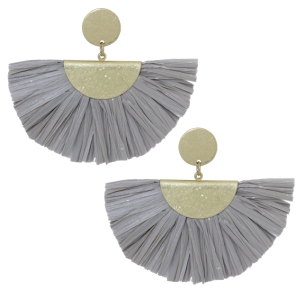 Fan Fringe Earrings in Grey