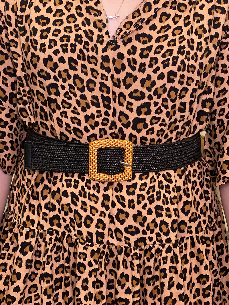 Jessa Stretch Belt in Black/Square