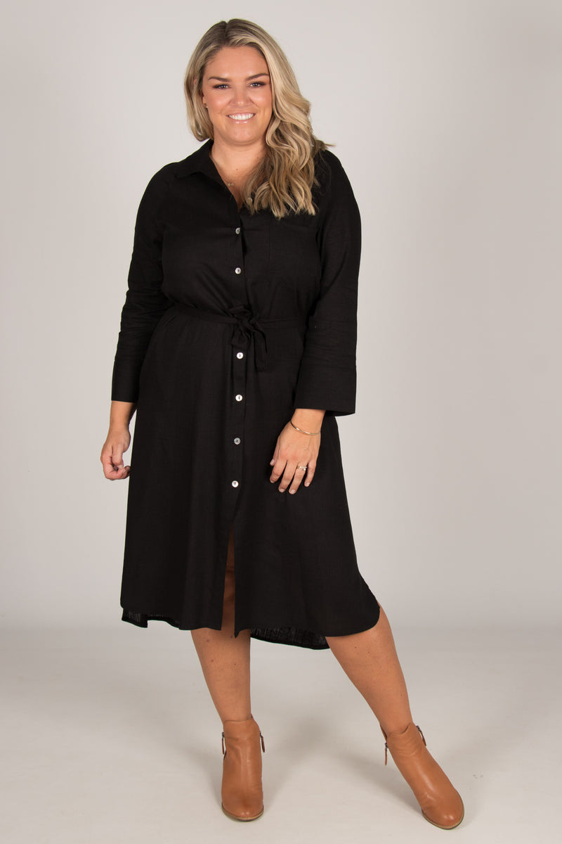 The Teacher Shirt Dress in Black