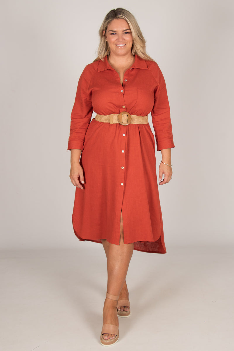 The Teacher Shirt Dress in Rust