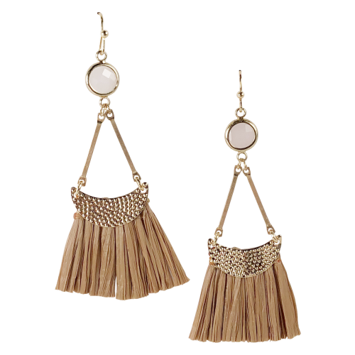 Tan Moon Tassel Earrings