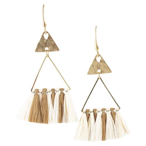 Mocha Triangle Tassel Earrings
