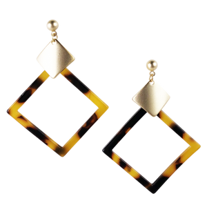 Brown Tortoiseshell Diamond Earrings
