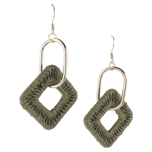 Weave Drop Earrings in Khaki
