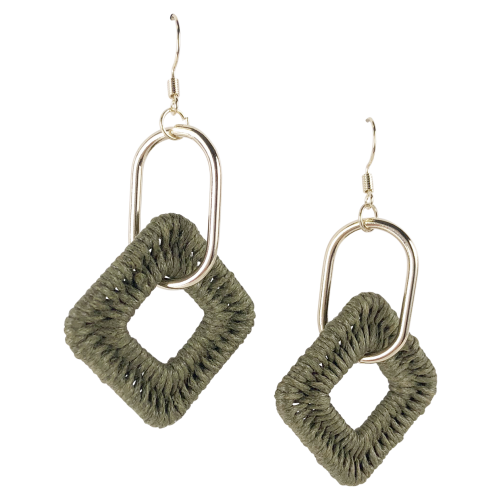 Weave Khaki Drop Earrings