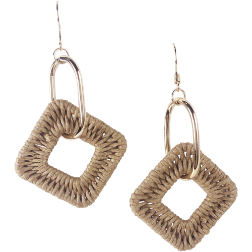 Weave Drop Earrings in Beige