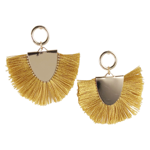 Oval Mustard Tassel Earrings