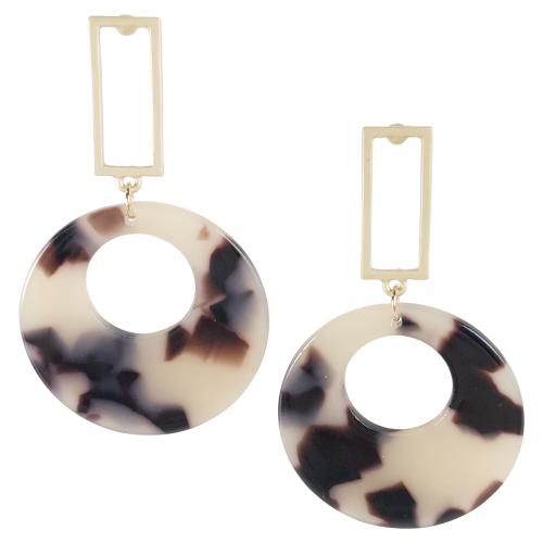 Drop Hoop Beige Tortoiseshell Earrings