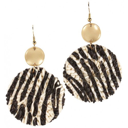 Cane Earrings in Kenya Zebra