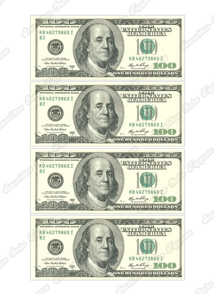 Money 100 Dollar Bill Cake Topper Sunshine Cake Toppers
