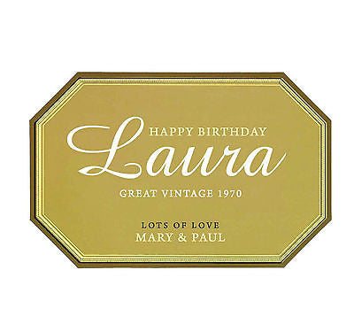 Champagne label personalised cake topper