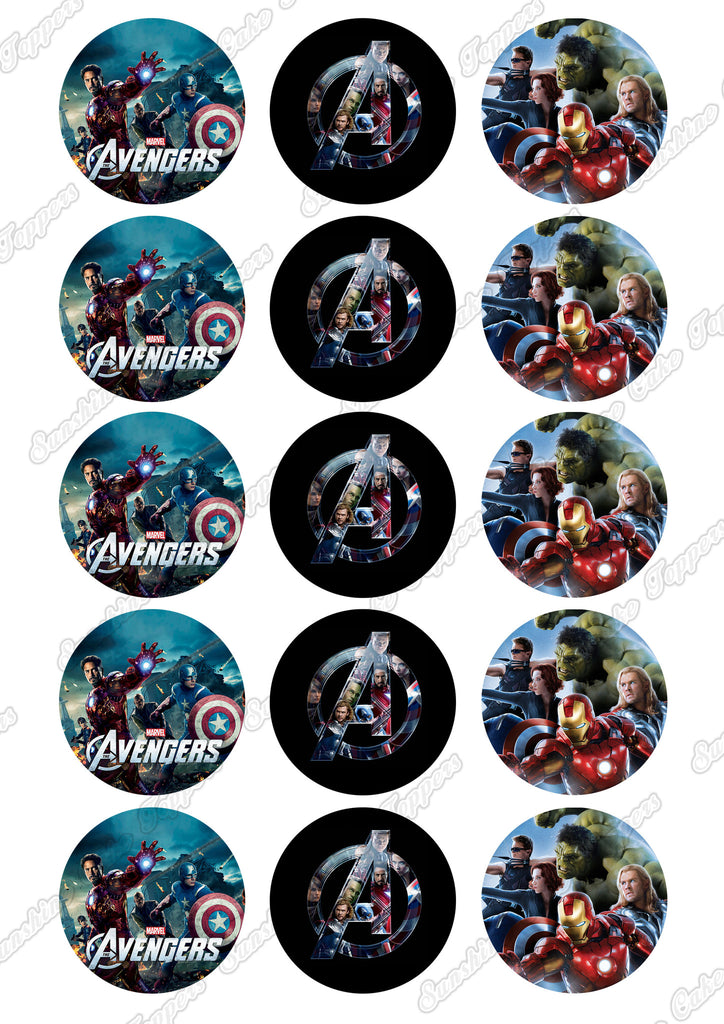 "Avengers 2"" Cupcake toppers x 15"
