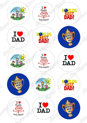 "Fathers Day 2"" Icing Cupcake Toppers x 15"
