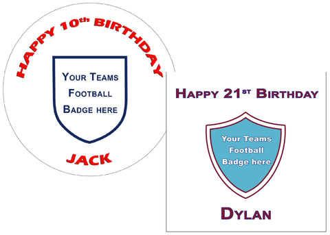 Football badge cake topper