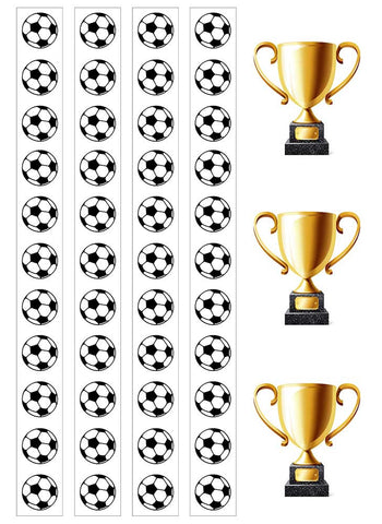 "Football strips 1"" x 11"" & Trophy Icing Cake Toppers"